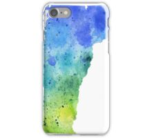 Watercolor Map of Vermont, USA in Blue and Green - Giclee Print of My Own Watercolor Painting iPhone Case/Skin
