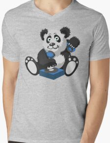 DJ Panda Mens V-Neck T-Shirt