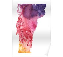 Watercolor Map of Vermont, USA in Orange, Red and Purple - Giclee Print of my Own Painting Poster
