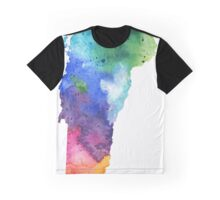 Watercolor Map of Vermont, USA in Rainbow Colors - Giclee Print of My Own Watercolor Painting Graphic T-Shirt