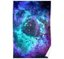 Pixel Blue Purple Nebula Poster