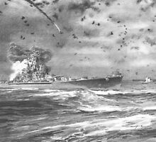 USS S Dakota at battle Santa Cruz drawing by Mike Theuer