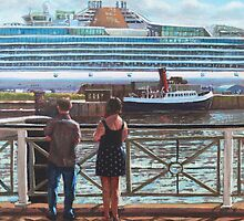 People at Southampton Eastern Docks viewing ship by martyee