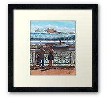 People at Southampton Eastern Docks viewing ship Framed Print