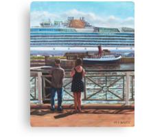 People at Southampton Eastern Docks viewing ship Canvas Print