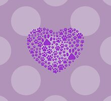 Dog Paws, Trails, Paw-prints, Heart - Purple by sitnica