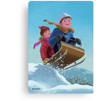 children snow sleigh ride Canvas Print
