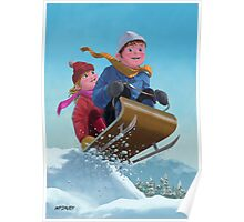 children snow sleigh ride Poster