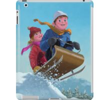 children snow sleigh ride iPad Case/Skin