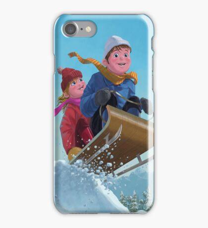 children snow sleigh ride iPhone Case/Skin