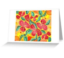 Watercolor Painting Tropical Red Hibiscus Gold Glitter Greeting Card