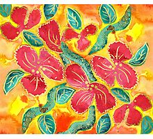 Watercolor Painting Tropical Red Hibiscus Gold Glitter Photographic Print