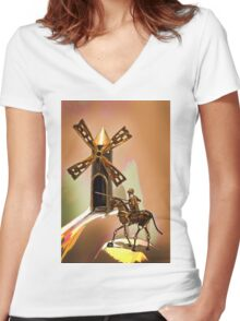 Don Quixote Tilting At Windmills Women's Fitted V-Neck T-Shirt