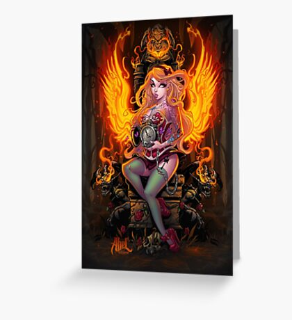 Burning Angel Pin Up Greeting Card