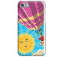 Girl in a balloon greeting a happy sun iPhone Case/Skin