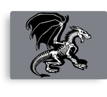 Grey Background Black Skeleton Dragon Design, Bag of Bones Dragon Canvas Print