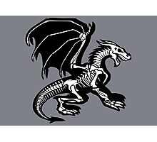 Grey Background Black Skeleton Dragon Design, Bag of Bones Dragon Photographic Print