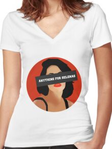 ANYTHING FOR SELENAS Women's Fitted V-Neck T-Shirt