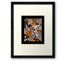 Cat Playing Saxophone Abstract Art Framed Print