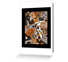 Cat Playing Saxophone Abstract Art Greeting Card