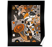 Cat Playing Saxophone Abstract Art Poster