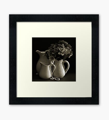 Pitchers and Flowers in Monotone Framed Print