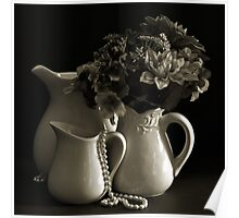 Pitchers and Flowers in Monotone Poster