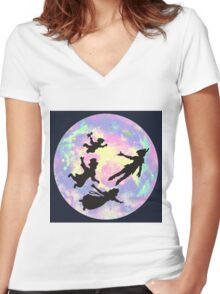 Never Grow Up Peter Pan Neverland Women's Fitted V-Neck T-Shirt