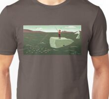 Standing on a Whale Fishing for Minnows Unisex T-Shirt
