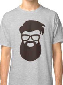 Hipster Silhouette #7 - Hairstyle, Glasses, Big Beard Classic T-Shirt