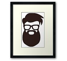 Hipster Silhouette #7 - Hairstyle, Glasses, Big Beard Framed Print