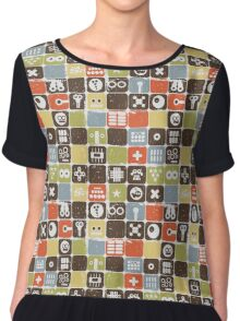 Robots on buttons. Chiffon Top
