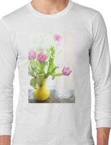Pink Tulips In Yellow Vase Long Sleeve T-Shirt