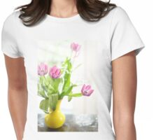 Pink Tulips In Yellow Vase Womens Fitted T-Shirt