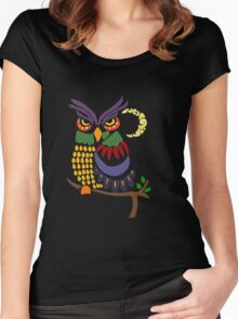 Cool Artistic Colorful Owl Abstract Art Original Women's Fitted Scoop T-Shirt