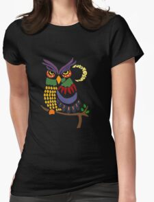 Cool Artistic Colorful Owl Abstract Art Original Womens Fitted T-Shirt
