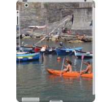 Boats on the coast of Vernazza (Vulnetia), a small town in province of La Spezia, Liguria, Italy. It's one of the lands of Cinque Terre, UNESCO World Heritage Sit iPad Case/Skin