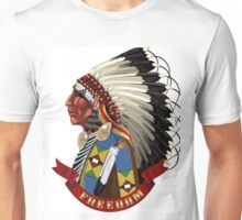 Native American Indian profile war bonnet freedom Unisex T-Shirt