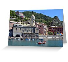 Boats on the coast of Vernazza, Vulnetia, a small town in province of La Spezia, Liguria, Italy. It is one of the lands of Cinque Terre, UNESCO World Heritage Sit Greeting Card