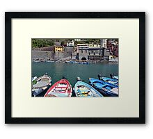 Boats on the coast of Vernazza, Vulnetia, a small town in province of La Spezia, Liguria, Italy. It is one of the lands of Cinque Terre, UNESCO World Heritage Sit Framed Print