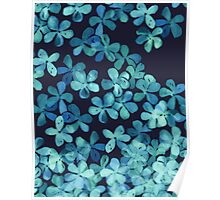 Hand Painted Floral Pattern in Teal & Navy Blue Poster