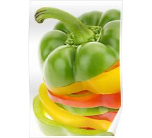 Fresh red, yellow and green bell pepper rings Poster