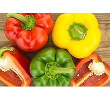 Fresh red, yellow and green bell peppers Photographic Print