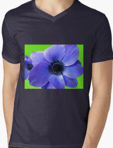 Blue Anemone on Green Background Mens V-Neck T-Shirt