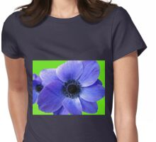 Blue Anemone on Green Background Womens Fitted T-Shirt