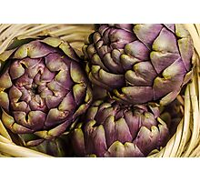 Fresh purple artichokes in wicker basket Photographic Print