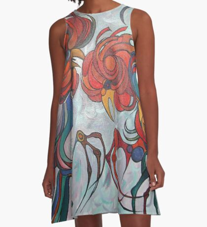 Farmyard Roosters A-Line Dress