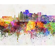 Fresno skyline in watercolor background Photographic Print