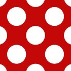 Polka Dots, Spots (Dotted Pattern) - Red White  by sitnica