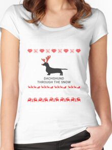 dachshund in snow Women's Fitted Scoop T-Shirt